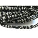 (1 metru) Snur bumbac tribal rotund negru si alb 6mm