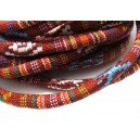 (1 metru) Snur bumbac tribal rotund multicolor 02 6mm