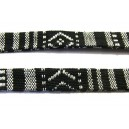 (1 metru) Snur bumbac tribal plat negru si alb 11mm