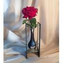 DISPONIBIL 1 BUCATA - Vaza sticla argintie si negru 25cm
