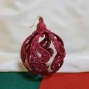 Ornament brad rosu glitter 9cm