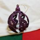 Ornament brad mov glitter 9cm