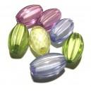 DISPONIBIL 1 SET CU 7 BUCATI - ACR20-08A - Margele acril cu miez alb ovale diverse culori 20*12mm