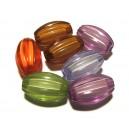 DISPONIBIL 1 SET CU 7 BUCATI - ACR20-08B - Margele acril cu miez alb ovale diverse culori 20*12mm