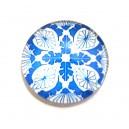 DISPONIBIL 2 BUCATI - CSP25mm-A-204 - Cabochon sticla print model floral 25mm - STOC FOARTE LIMITAT!!!