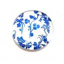 DISPONIBIL 2 BUCATI -  CSP25mm-A-221 - Cabochon sticla print model floral 25mm - STOC FOARTE LIMITAT!!!