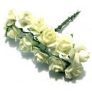 (12 buc.) Trandafiri artificiali ivory 2cm/8cm