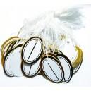 EP08 - (10 buc.) Etichete pret albe cu auriu cu snur bumbac 26*19mm