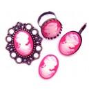 CRC54 - Cabochon rasina camee roz fucsia si alb 25*18mm