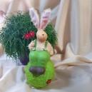 DISPONIBIL 1 BUCATA - Iepuras verde ceramica cu floare 30cm