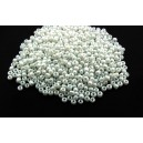 MN2mm-38 - (25 grame) Margele nisip alb perlat 2mm