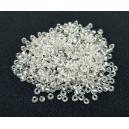 MN2mm-44 - (25 grame) Margele nisip clear cu miez argintiu 2mm