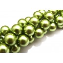 PS14mm-09 - Perle sticla verde olive gold sfere 14mm