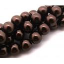PS12mm-01 - Perle sticla maro inchis sfere 12mm
