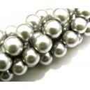 PS12mm-06 - Perle sticla gri argintiu sfere 12mm