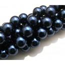 PS12mm-10 - Perle sticla albastru petrol sfere 12mm