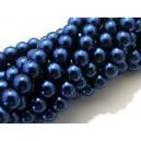 PS8mm-15 - (10 buc.) Perle sticla albastru petrol sfere 8mm