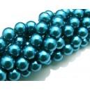 PS8mm-16 - (10 buc.) Perle sticla turcoaz sfere 8mm