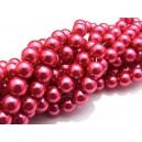 PS8mm-20 - (10 buc.) Perle sticla roz cyclam sfere 8mm