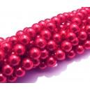 PS8mm-34 - (10 buc.) Perle sticla rosu cyclam sfere 8mm