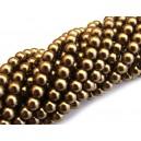 PS6mm-06 - (10 buc.) Perle sticla ciocolata gold sfere 6mm