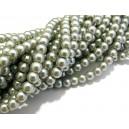 PS6mm-14 - (10 buc.) Perle sticla gri usor verzui sfere 6mm - STOC FOARTE LIMITAT!!!