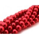 PS6mm-43 - (10 buc.) Perle sticla rosu portocaliu sfere 6mm