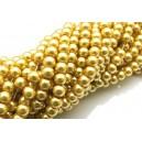 PS6mm-49 - (10 buc.) Perle sticla auriu mustar sfere 6mm
