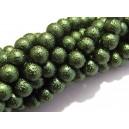 PSC8mm-01 - Perle sticla creponate sfere verde inchis 8mm