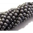 PSC6mm-02 - Perle sticla creponate gri inchis sfere 6mm