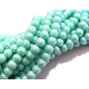 PSC6mm-11 - Perle sticla creponate bleu verzui sfere 6mm