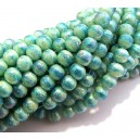 PSC6mm-12 - Perle sticla creponate turcoaz efect AB sfere 6mm