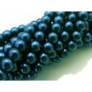 PS8mm-44 - (10 buc.) Perle sticla verde marin sfere 8mm