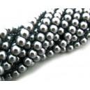 PS6mm-12A - (10 buc.) Perle sticla gri hematit sfere 6mm