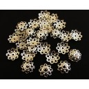 CA05 - (10 buc.) Capacele filigranate floare argintii 10mm