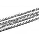 LO03 - (1 metru) - Lant otel inoxidabil argintiu inchis 3*2*0.6mm - zale rotunde plate