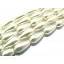 PSL17*8mm-02 - Perle sticla alb ivory lacrima 17*8mm