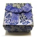 CCI-B-02 - Cutie cadou argintie cu flori albastre pentru inel 4.3*3.2cm