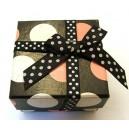 CCI-F-02 - Cutie cadou neagra cu buline albe si roz pentru inel 5*3cm