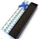 CCC-F-02 - Cutie cadou albastra cu romburi pentru colier/bratara/ceas 20*4.1*2.4cm