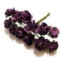 TRA01-A - (12 buc.) Trandafiri artificiali mov inchis 2cm/8cm