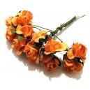 TRA03 - (12 buc.) Trandafiri artificiali portocalii 2cm/8cm