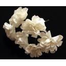 TRA10 - (6 buc.) Trandafiri artificiali albi cu gliter 3cm/7cm
