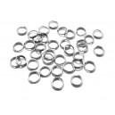 OTE12 - (20 buc.) Zale otel inoxidabil semiduble argintiu inchis 5*1.2mm