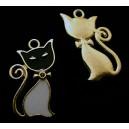 CP555-01 - Charm auriu pisica email negru si alb  28*16mm - STOC FOARTE LIMITAT!!!