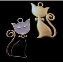 CP555-02 - Charm auriu pisica email alb si negru 28*16mm - STOC FOARTE LIMITAT!!!