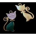 CP555-04 - Charm auriu pisica email alb si verde turcoaz 28*16mm - STOC FOARTE LIMITAT!!!