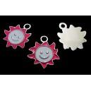 CP570-D - Charm argintiu inchis soare smiley email roz 24*22mm - STOC LIITAT!!!