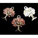 CP575-C - Charm argintiu inchis copacul vietii email roz 22*17.5mm - STOC LIMITAT!!!