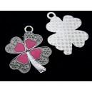 CP577-E - Charm argintiu inchis trifoi email roz si alb 32*26mm - STOC LIMITAT!!!